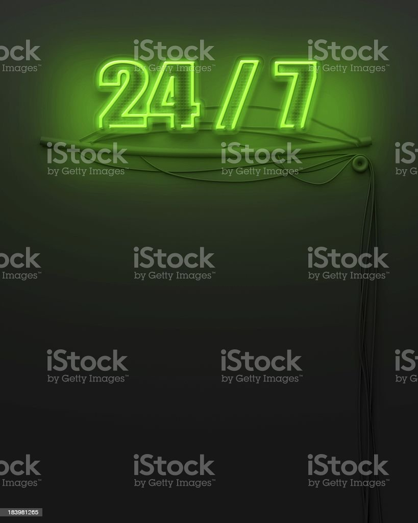 Neon glowing sign with word 24 7, copyspace stock photo