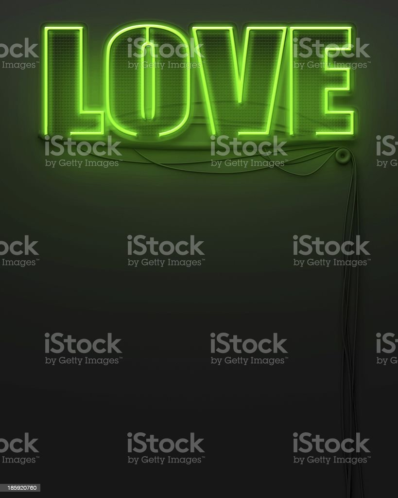 Neon glowing sign with word Love, copyspace royalty-free stock photo