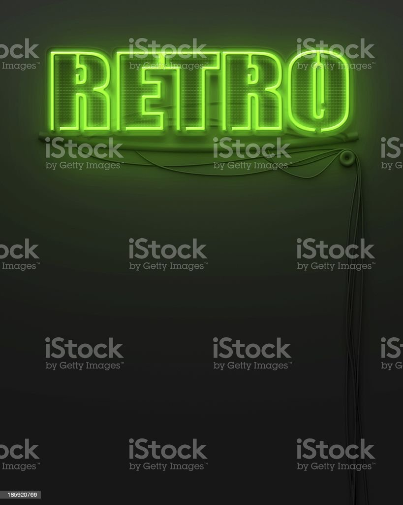 Neon glowing sign with word Retro, copyspace royalty-free stock photo