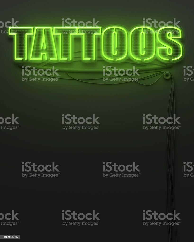 Neon glowing sign with word Tattoos, copyspace royalty-free stock photo