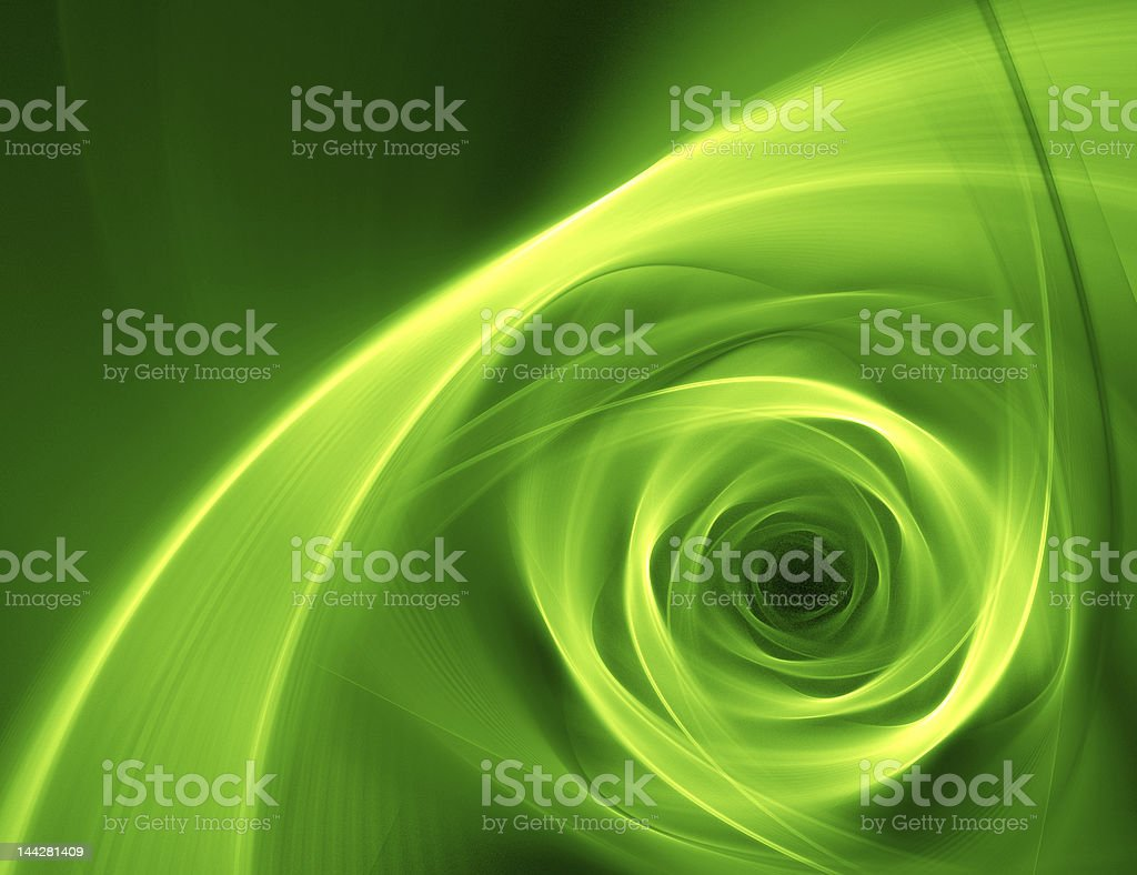 A neon green abstract flower design on a black background royalty-free stock photo