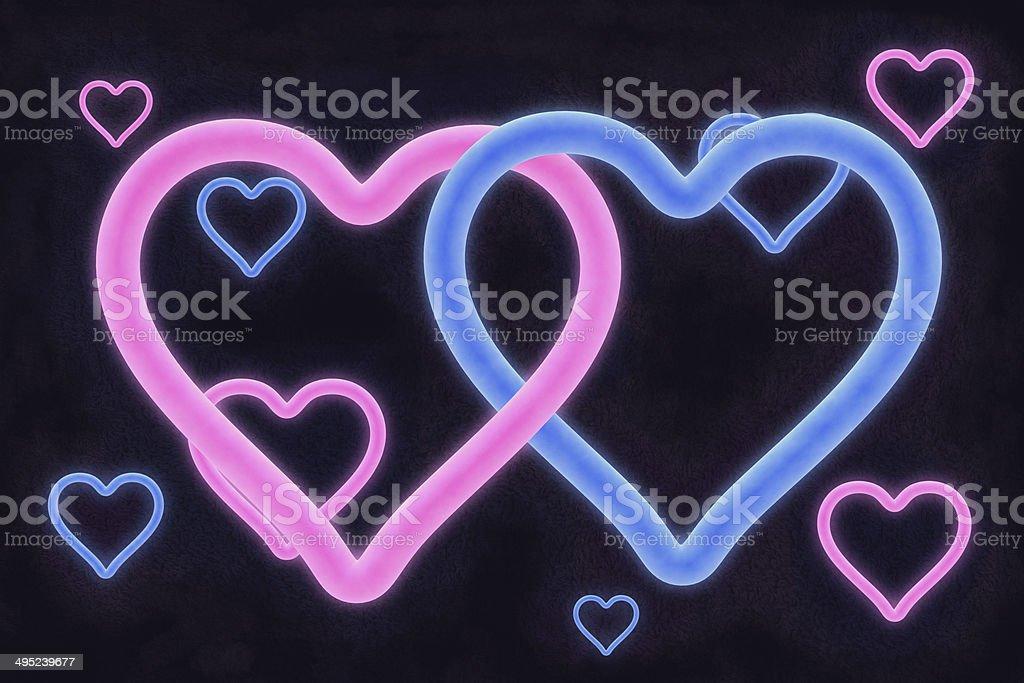 Neon Hearts A3 royalty-free stock photo