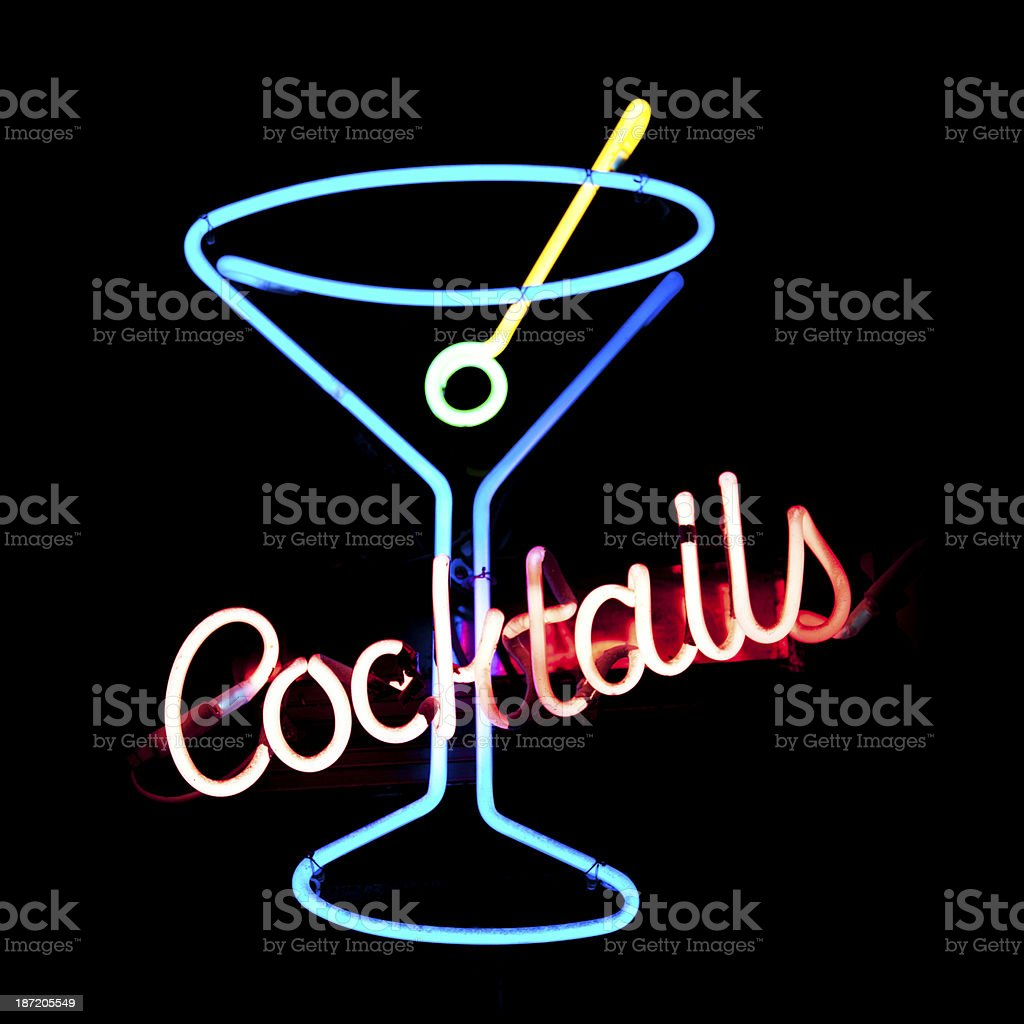 Neon light cocktail stock photo
