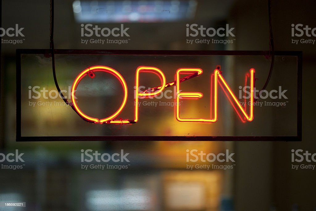 Neon light : open stock photo