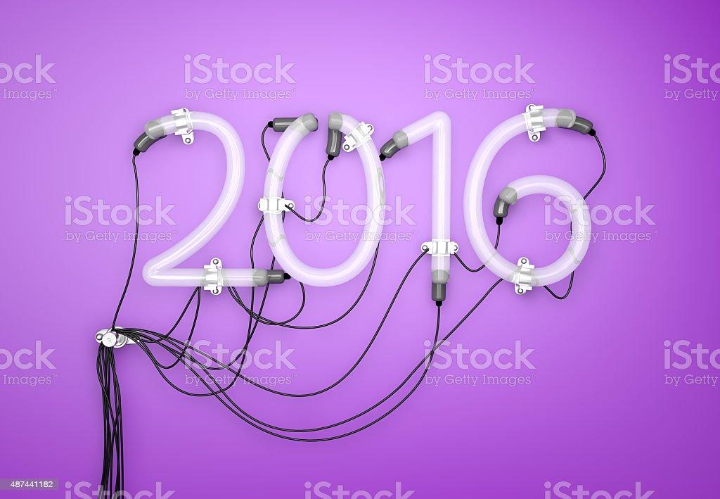 2016 Neon Light  Purple Background 3D stock photo