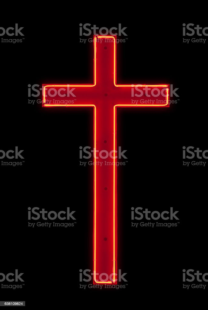 Neon Light : Red crucifix stock photo