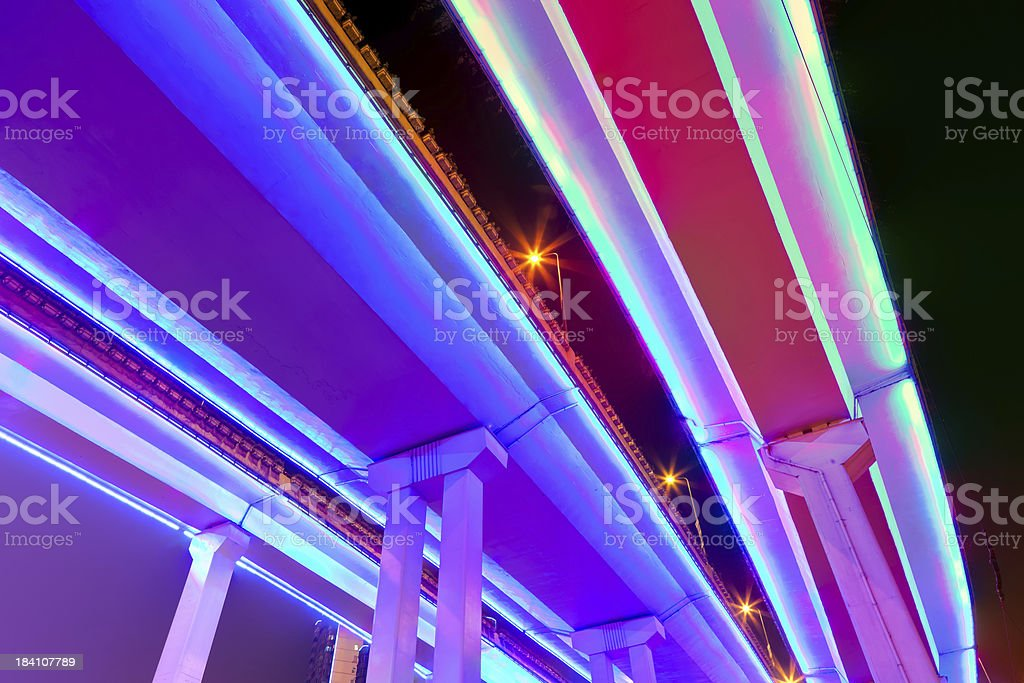 Neon lighted elevated highway royalty-free stock photo