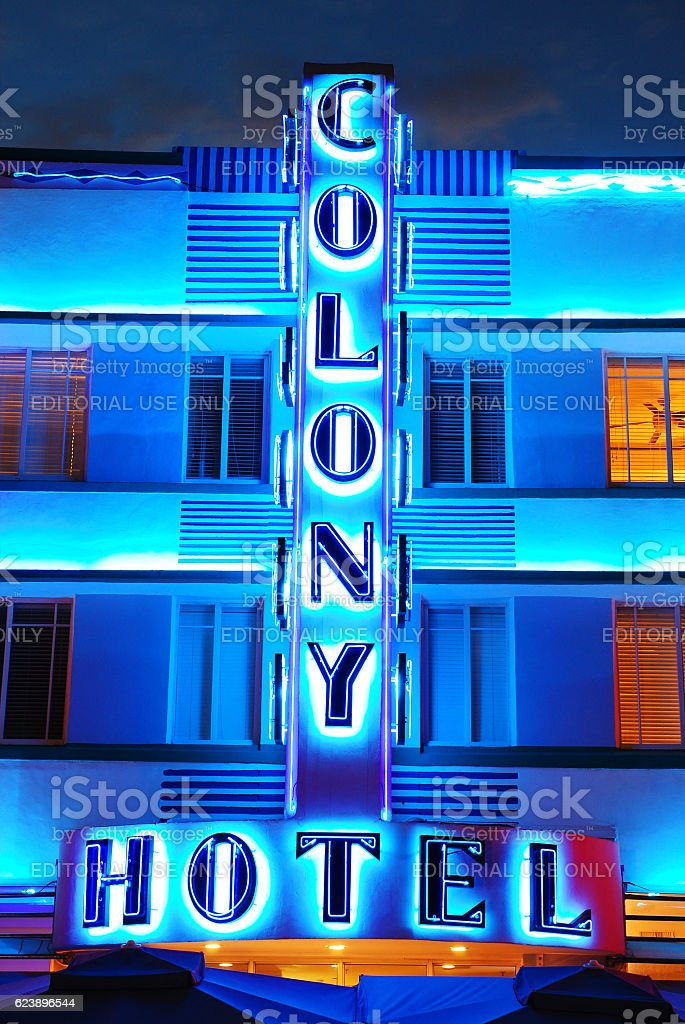 Neon Lights of the Colony Hotel, Miami Beach stock photo