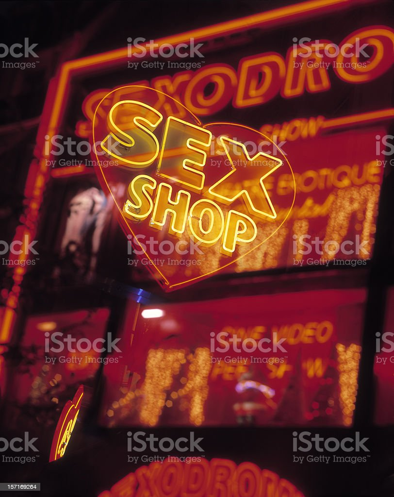 Neon lights, Pigalle, Paris. royalty-free stock photo