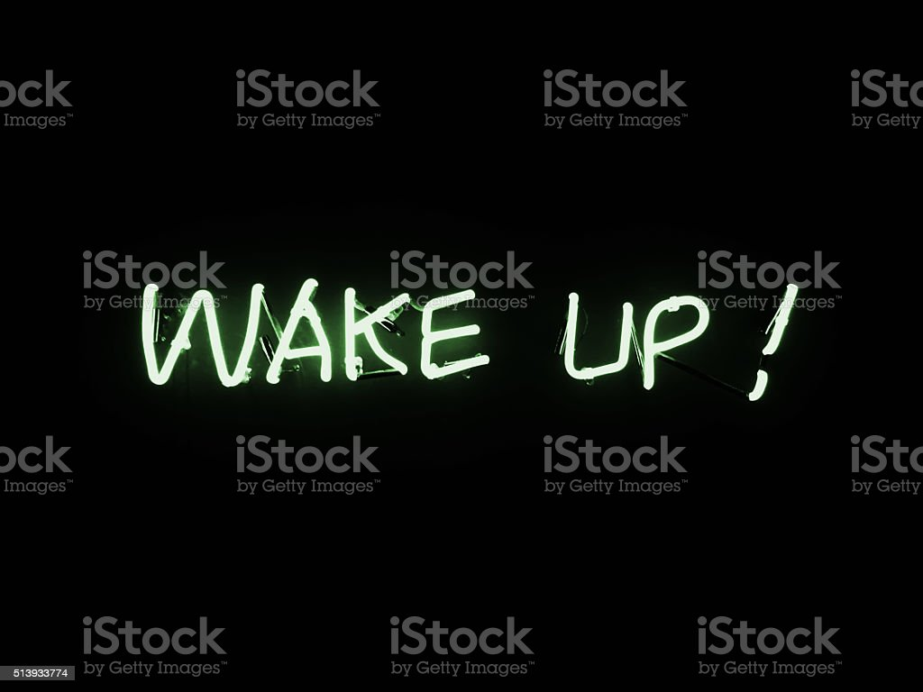 neon lights - wake up stock photo