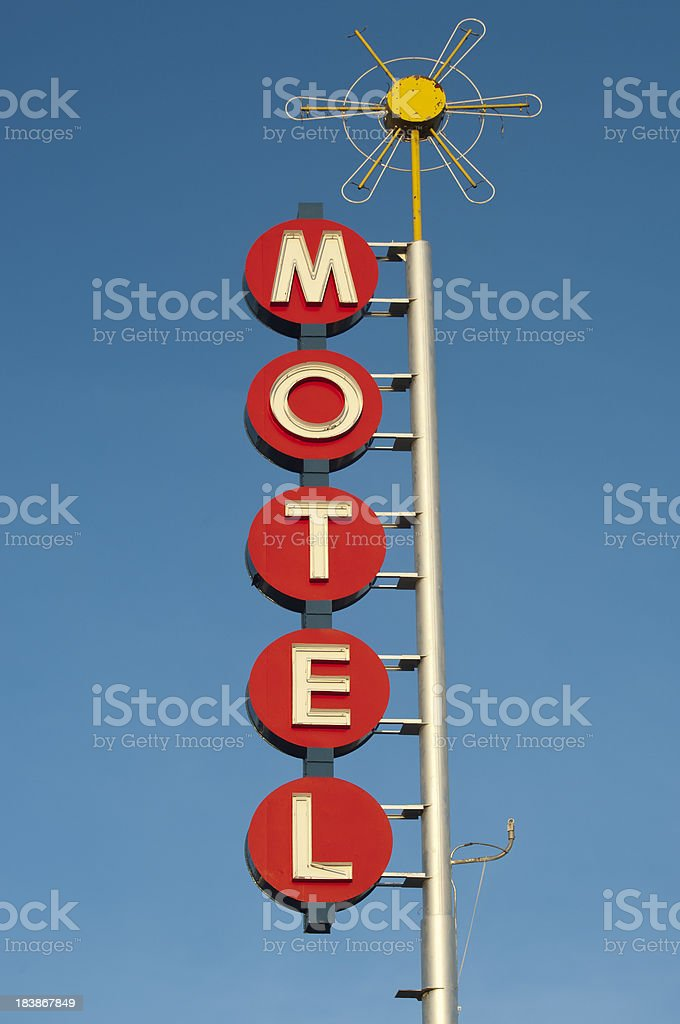 Neon Motel Sign Art Deco and Retro stock photo