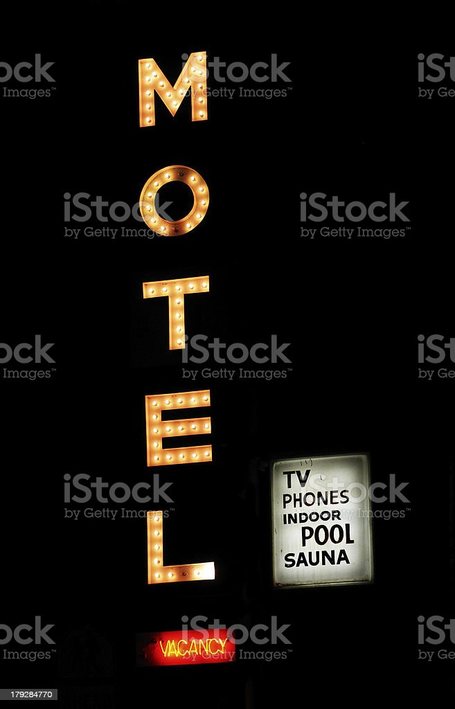 Neon Motel Sign Lit Up stock photo