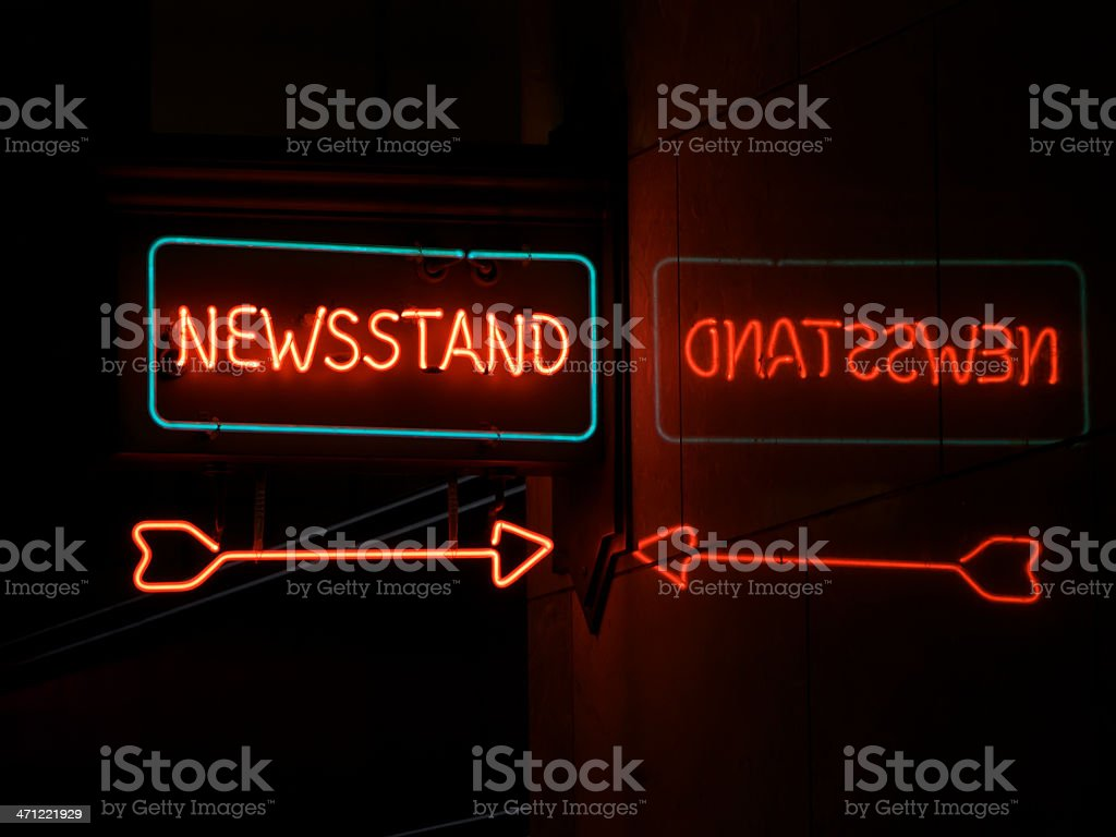 Neon Newsstand with Red Arrow and Reflection Green Outline royalty-free stock photo