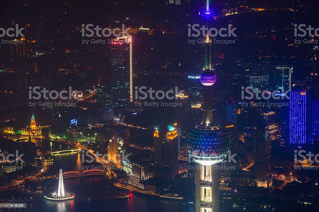Neon night Oriental Pearl Tower The Bund illuminated Shanghai China stock photo