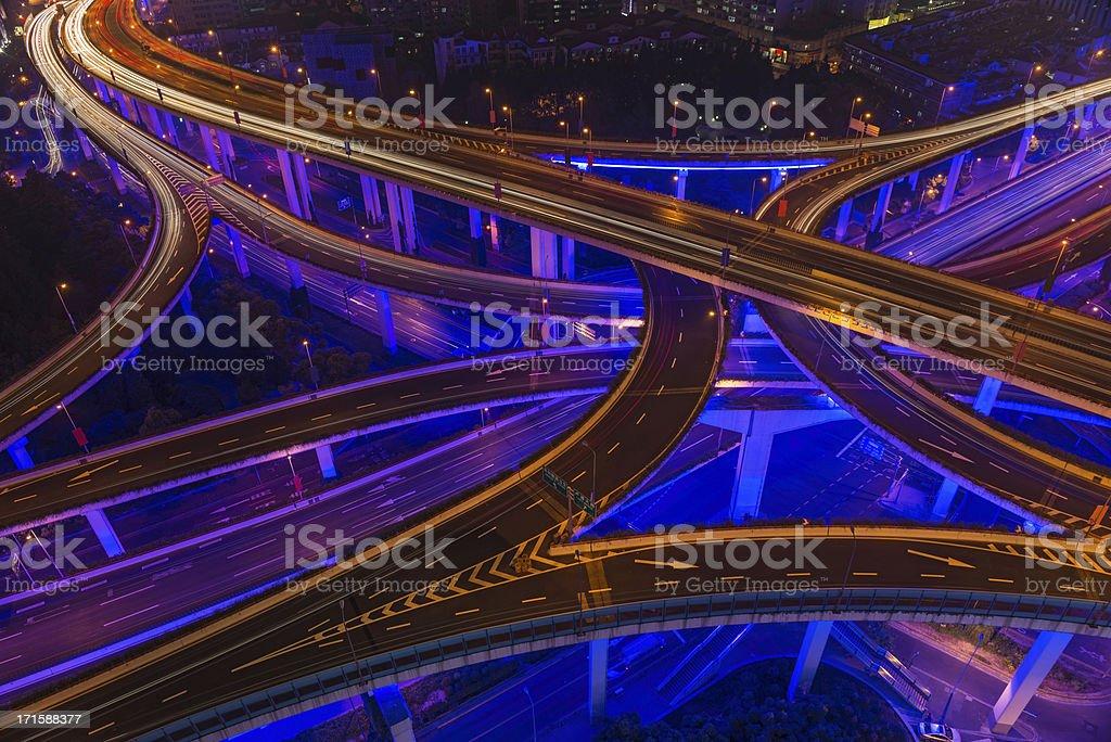 Neon night super highway illuminated Shanghai China stock photo