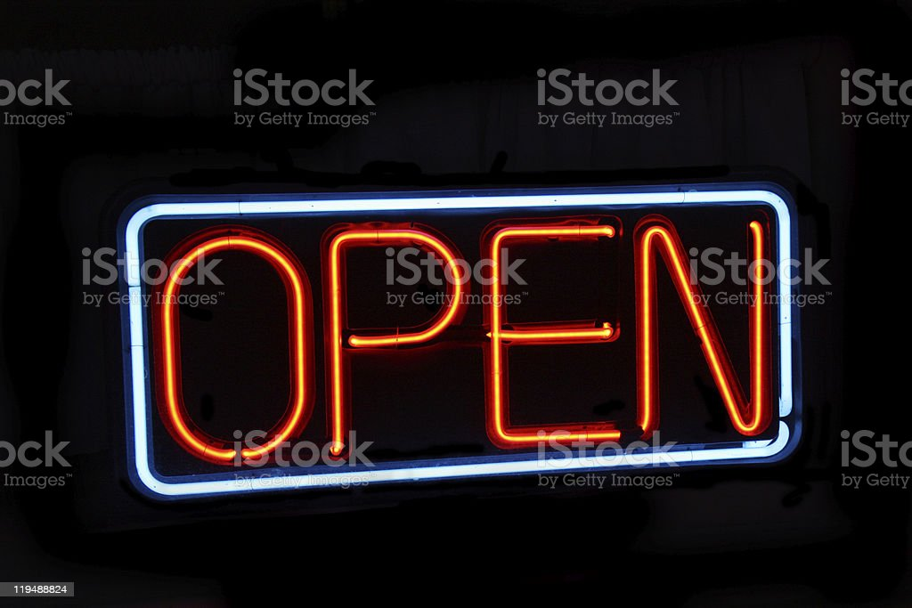 Neon open sign against black royalty-free stock photo