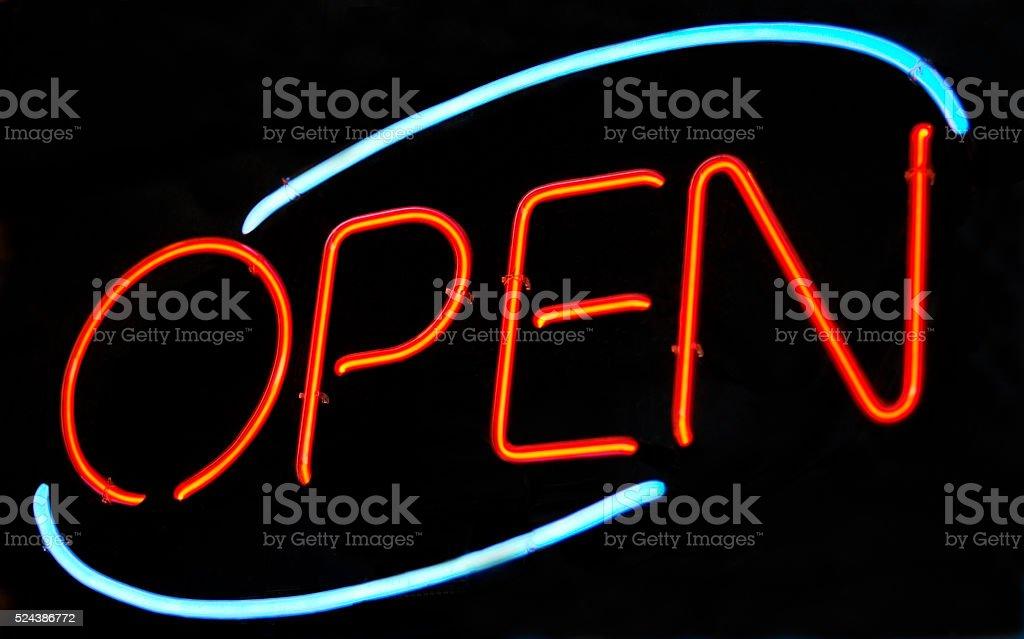 Neon 'Open' sign stock photo