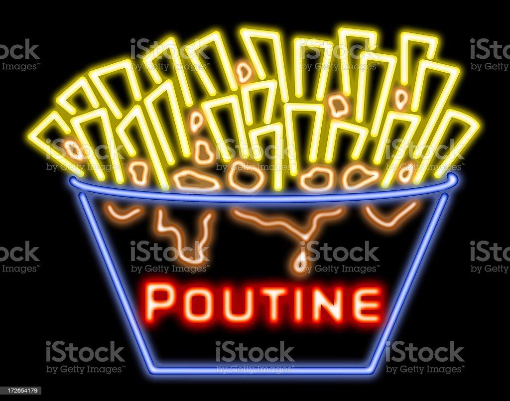 Neon Quebec Poutine stock photo