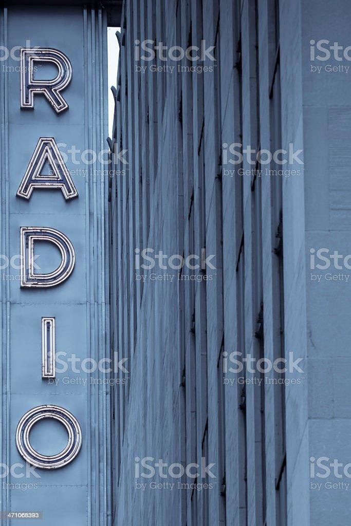 neon radio sign royalty-free stock photo