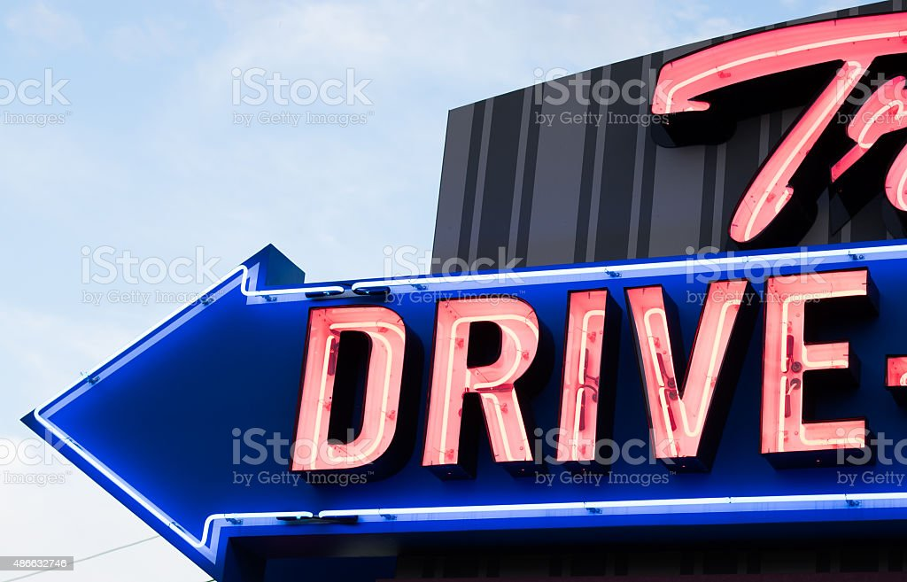 Neon road sign for drive-in (USA) stock photo