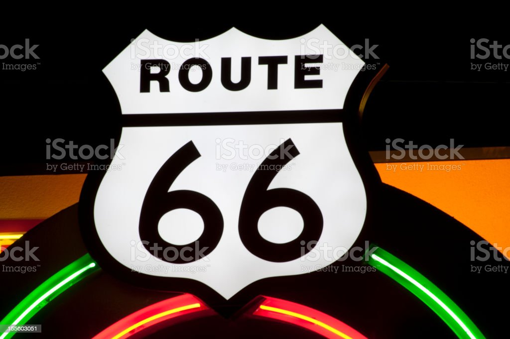 Neon Route 66 Sign royalty-free stock photo