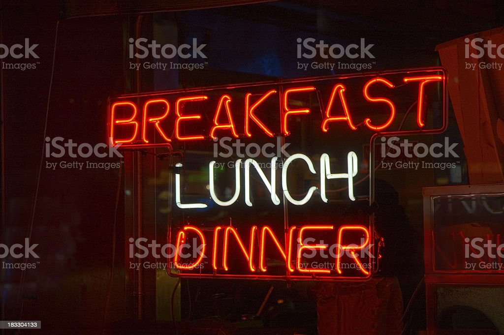 Neon Sign – Breakfast, Lunch, Dinner royalty-free stock photo