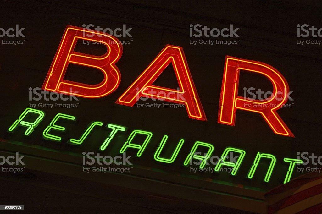 Insegna al Neon-Bar, ristorante foto stock royalty-free