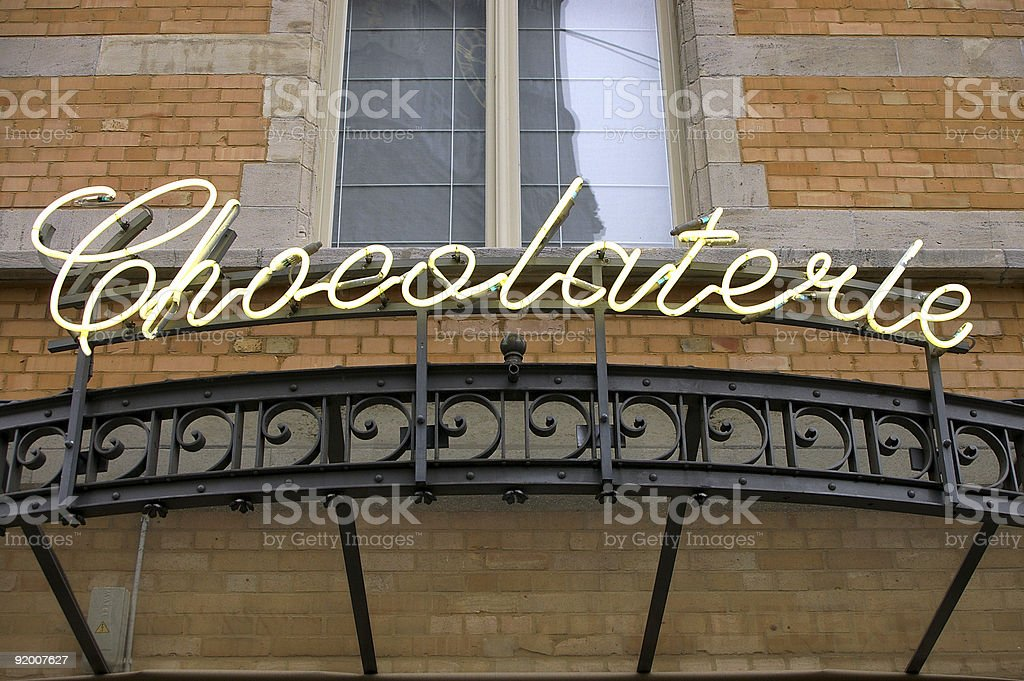 Neon sign Chocolaterie stock photo