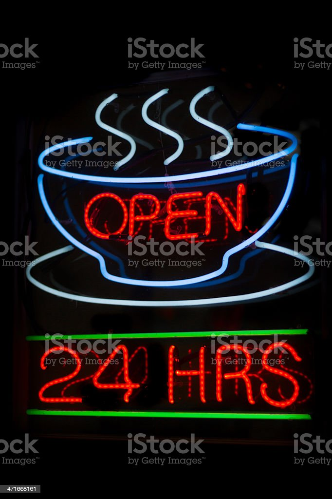 Neon sign, coffee shop open 24 hours stock photo