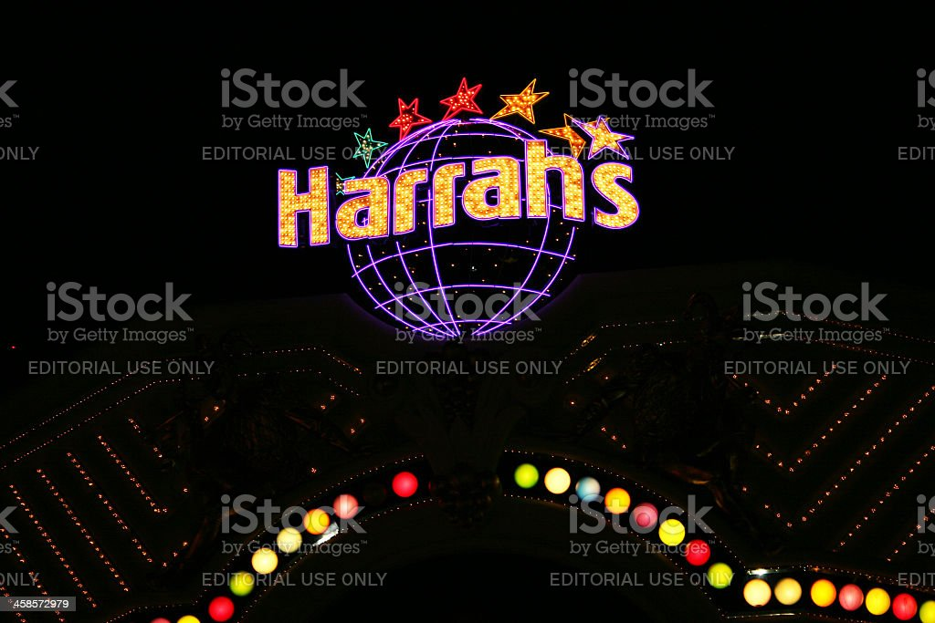 Neon Sign for Harrah's hotel casino stock photo