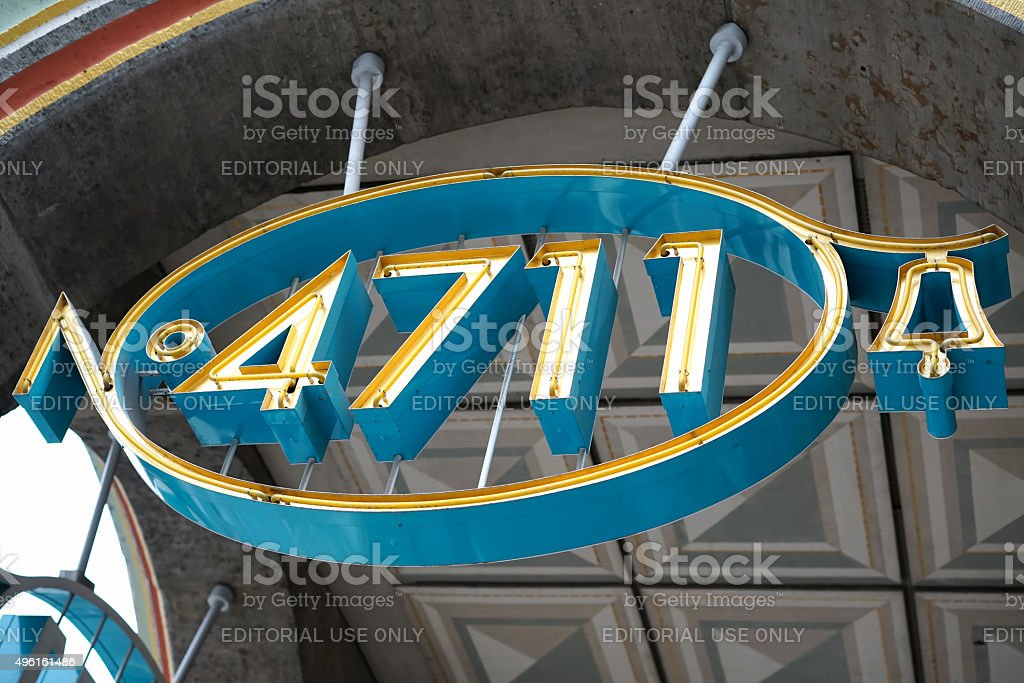 Neon sign in Cologne stock photo