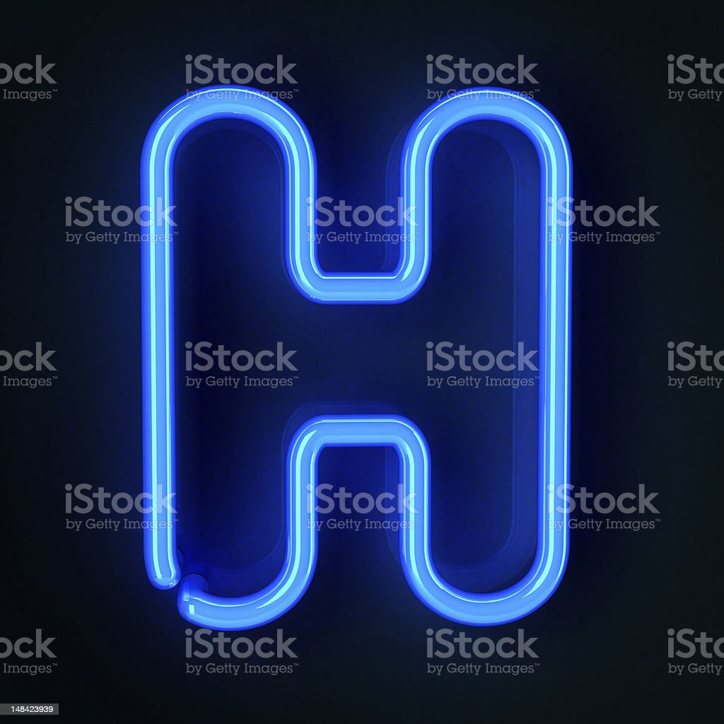Neon Sign Letter H royalty-free stock photo