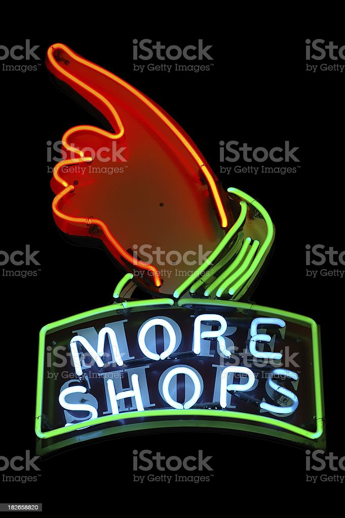 Neon Sign - More Shops royalty-free stock photo