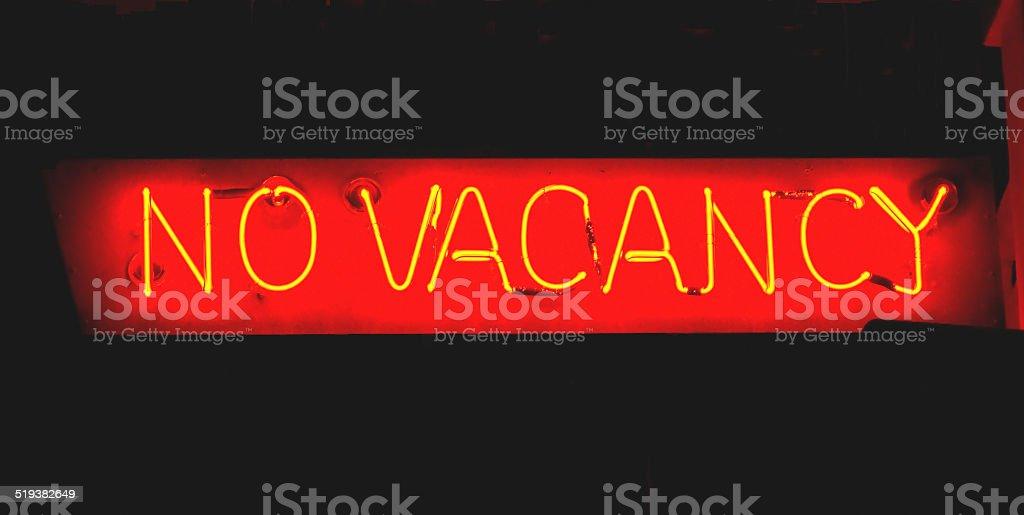 Neon Sign - No Vacancy stock photo