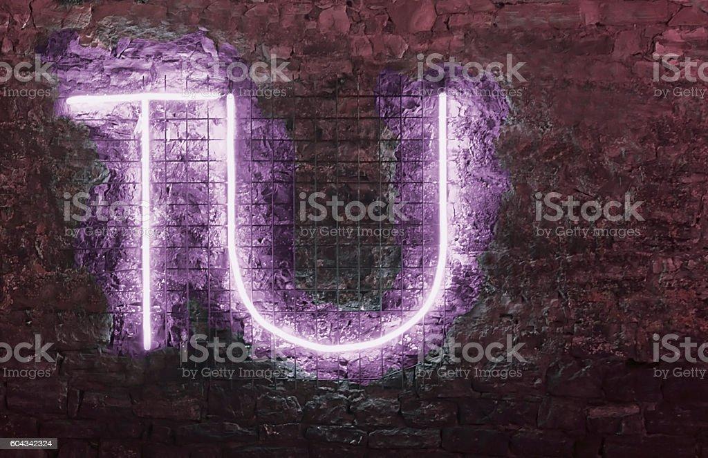 TU-neon sign stock photo