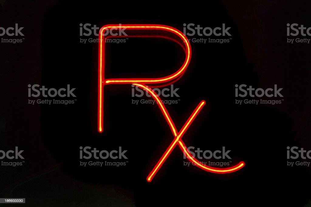 Neon sign, prescription symbol stock photo
