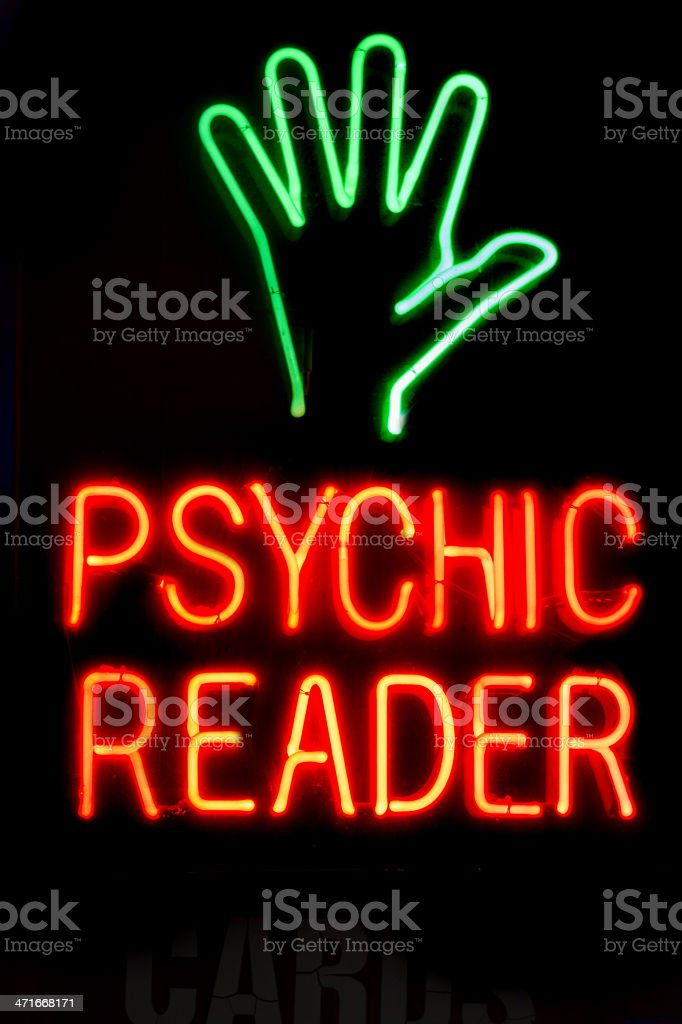 Neon sign, psychic reader stock photo