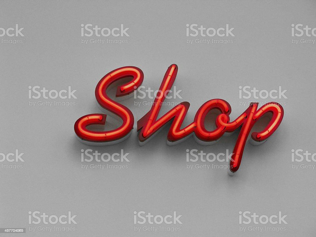 Neon sign ''Shop'' stock photo