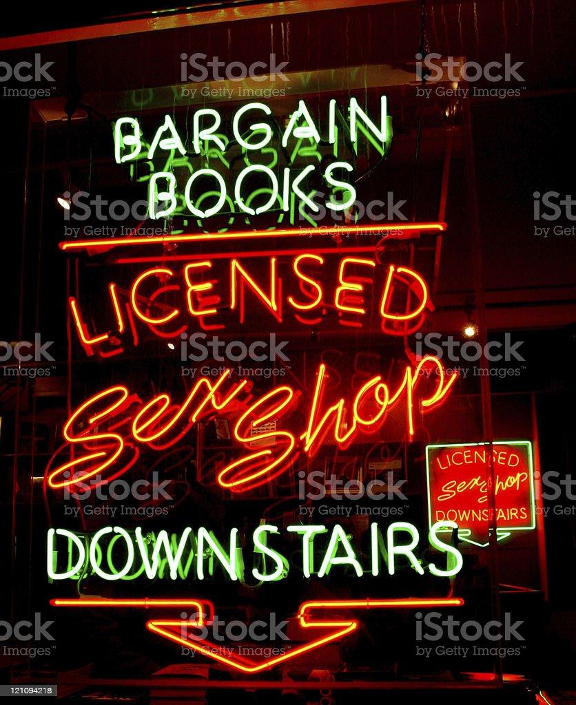 Neon Sign Shop Window royalty-free stock photo
