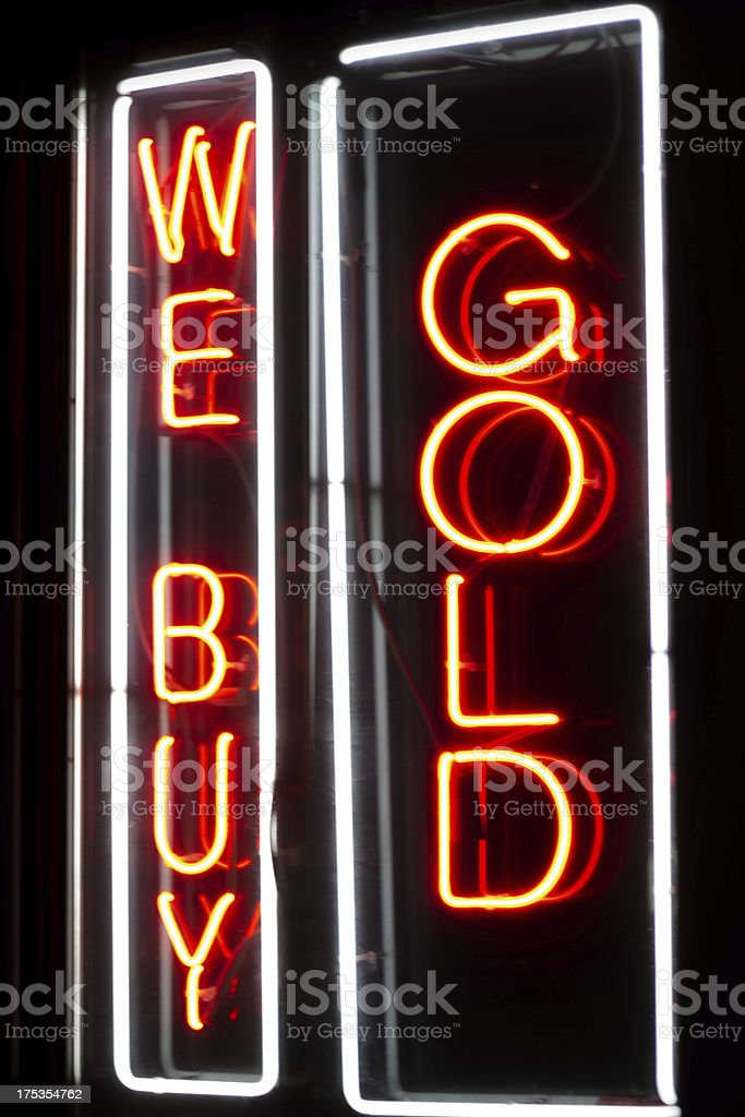 Neon sign, We Buy Gold royalty-free stock photo