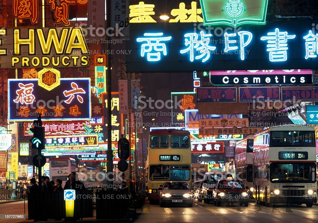 neon signs and traffic on Nathan Road Kowloon Hong Kong stock photo