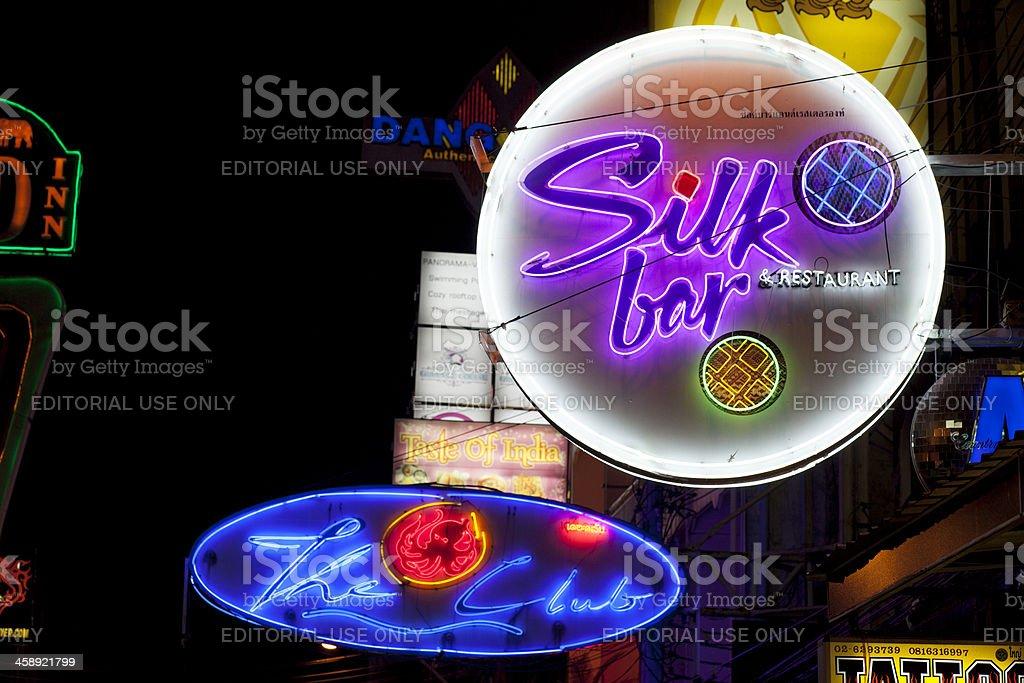 Neon signs Khao San Road Bangkok stock photo