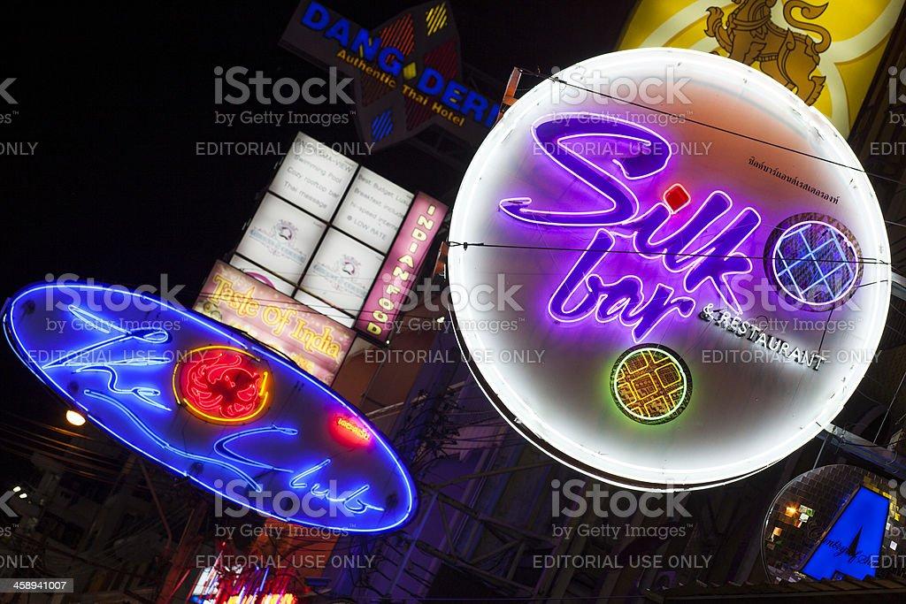 Neon signs Khao San Road Bangkok royalty-free stock photo