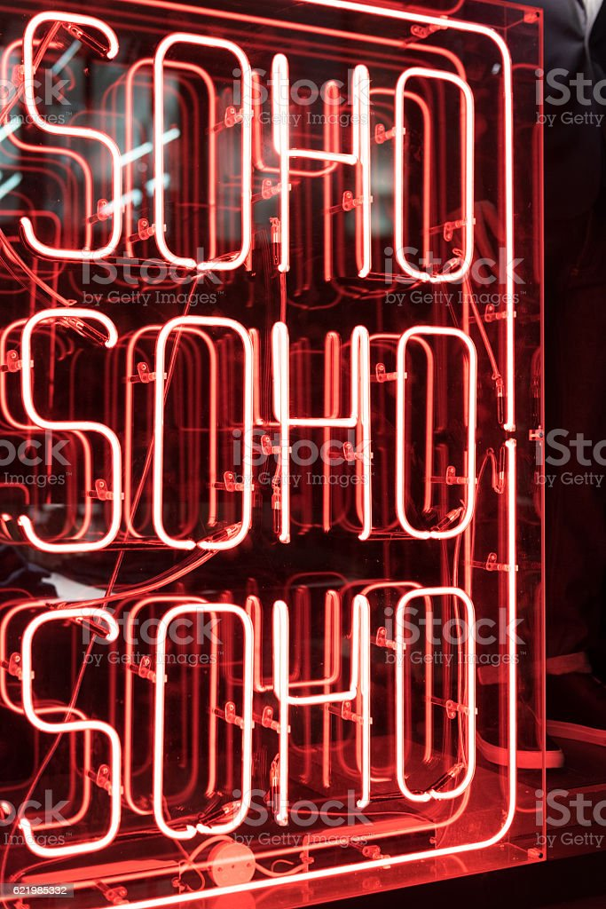 Neon Soho Sign stock photo