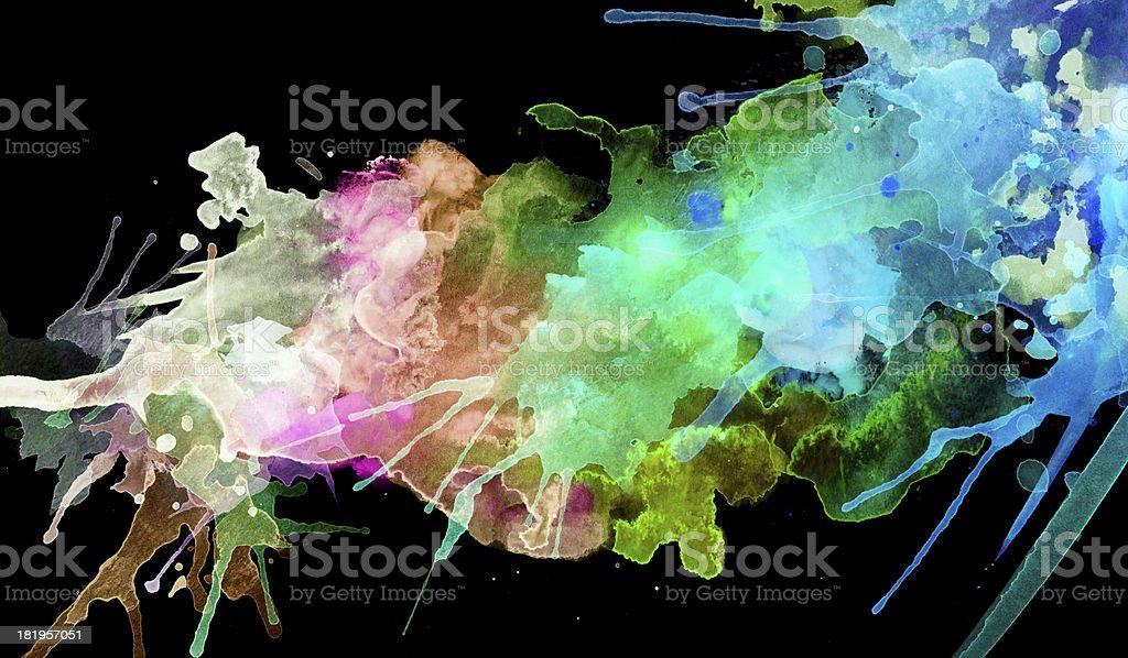 Neon Splashes of Paint on Black royalty-free stock photo