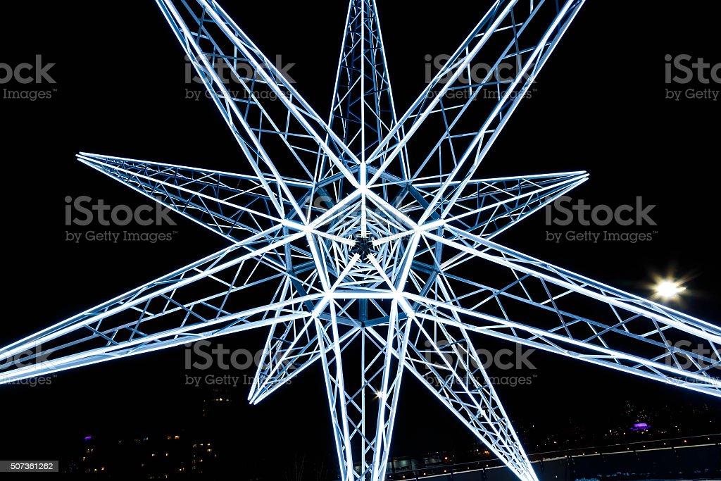 neon star abstract night inside stock photo