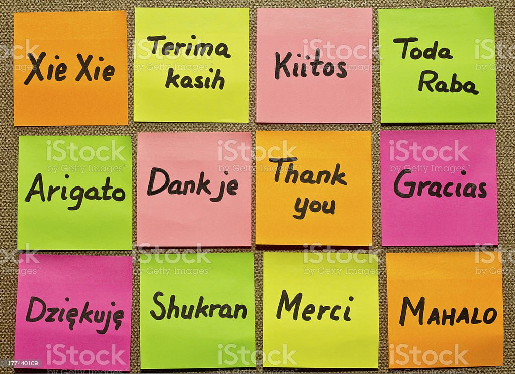 Neon sticky notes with Thank you in different languages  stock photo