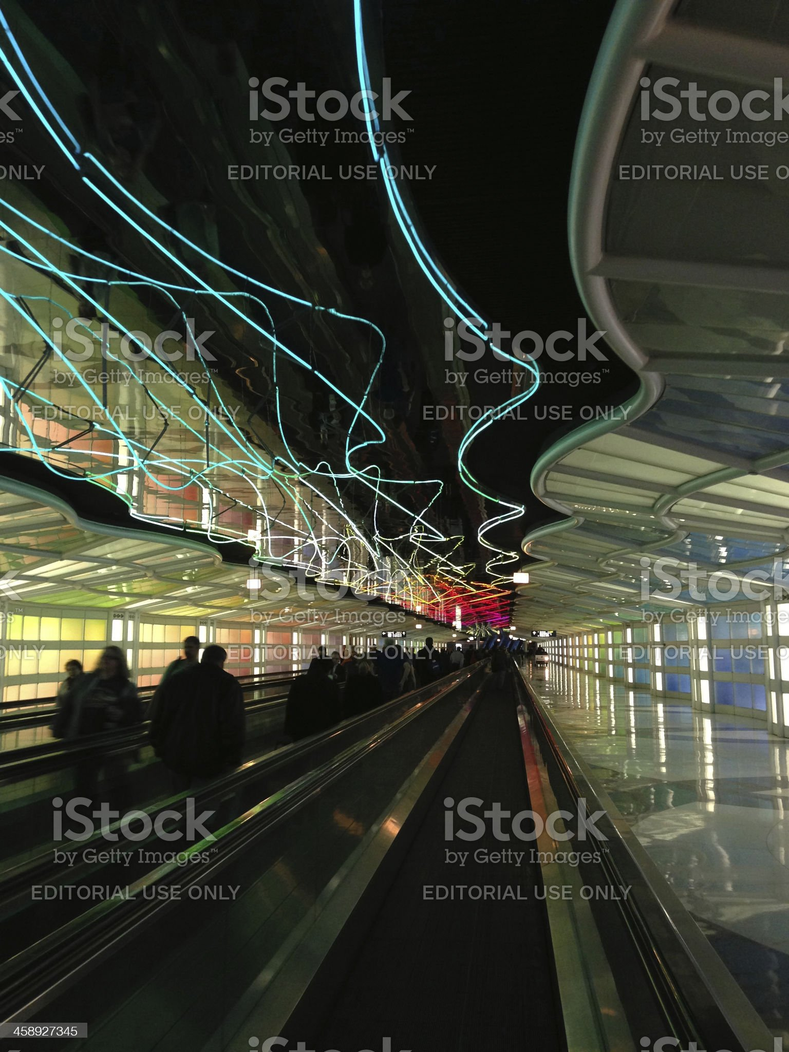 neon walkway at Ohare International Airport royalty-free stock photo
