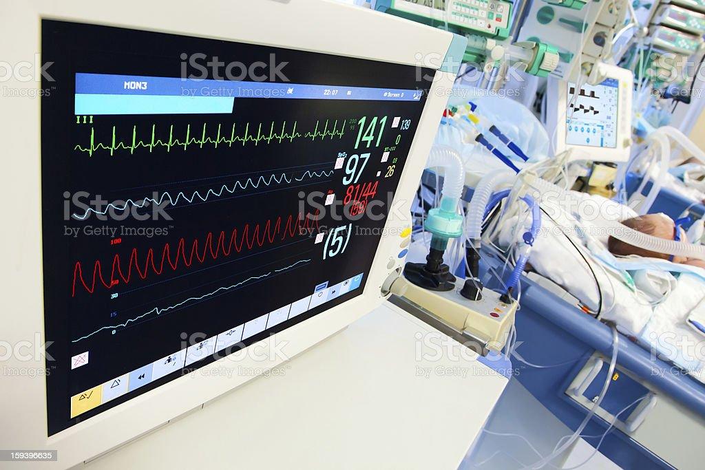 Neonatal ICU with ECG monitor stock photo