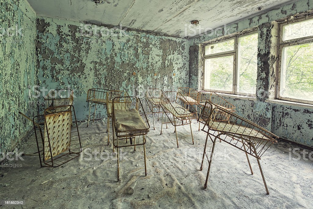 Neonatal Unit of an Abandoned Hospital, Pripyat, Chernobyl, Ukraine stock photo